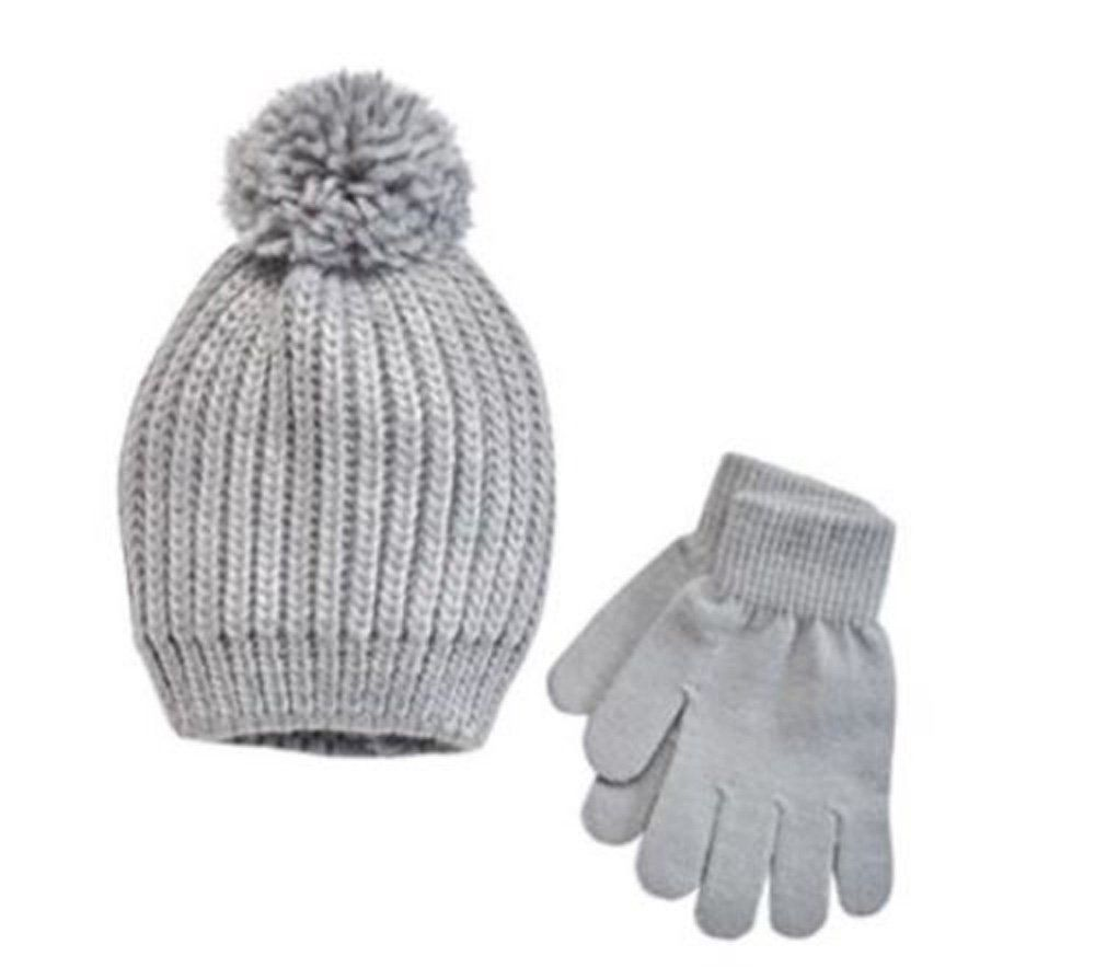 cbf495b8a SO Girls 2PC Winter Set Rain Foil Hat Gloves Gray Combo Small 4-7 ...