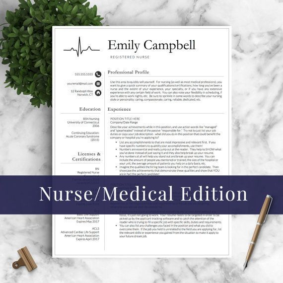 Nurse Resume Template for Word  Pages / Medical Resume, Nurse CV