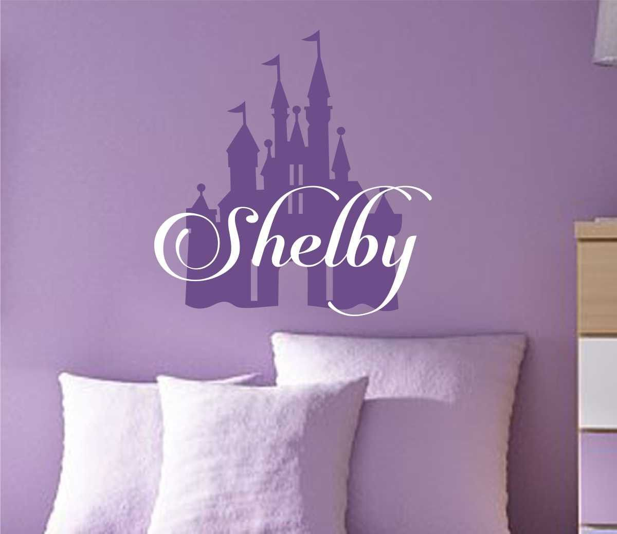 Princess Castle Silhouette Decal Vinyl Wall Lettering Custom - Custom vinyl wall lettering decals
