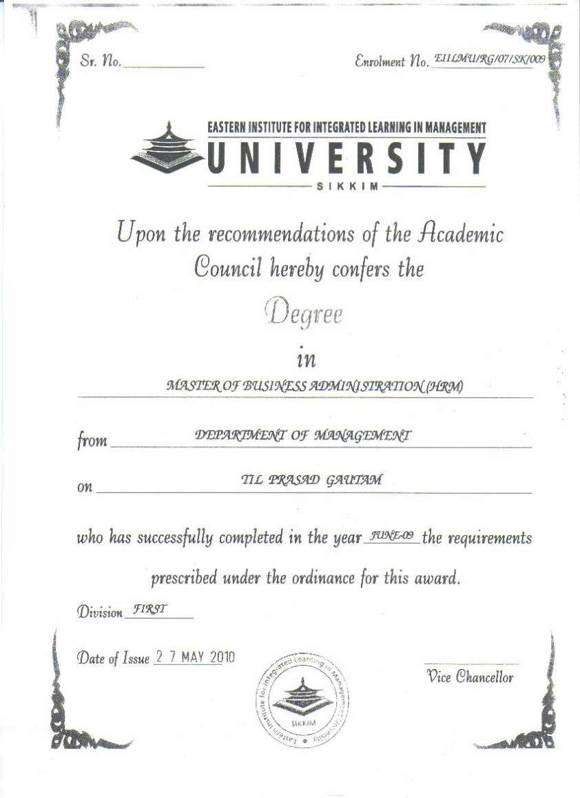 Eiilm University Degree Certificate Sample 2019 2020