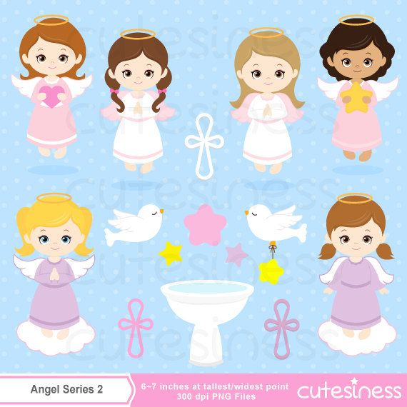 Angel baby girl. Clipart baptism invitation cute
