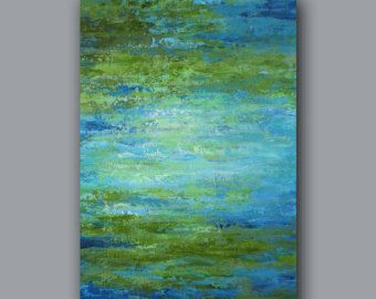 Abstract Painting Large Canvas Art Olive Green By Artfromdenise