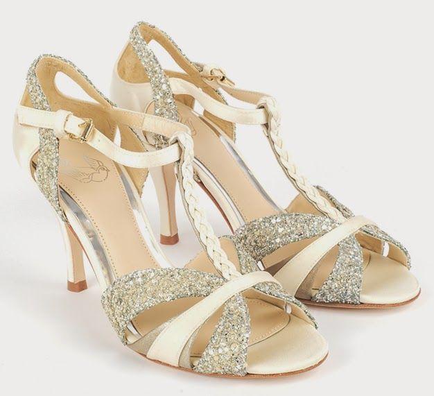 Scarlett Cream And Glitter Tbar Wedding Dance Shoes