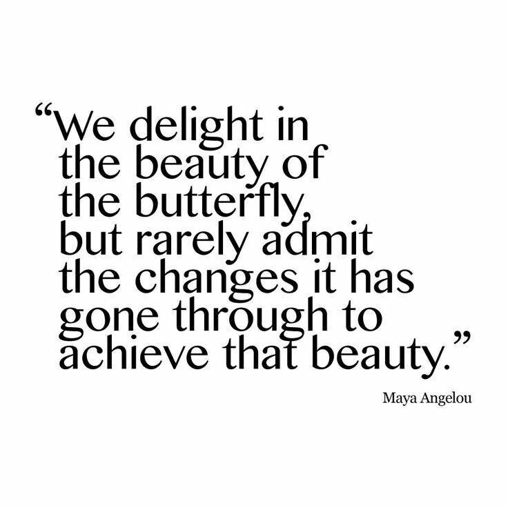 """Maya Angelou quote- """"We delight in the beauty of the butterfly,  but rarely admit the changes it has gone through to achieve that beauty."""""""