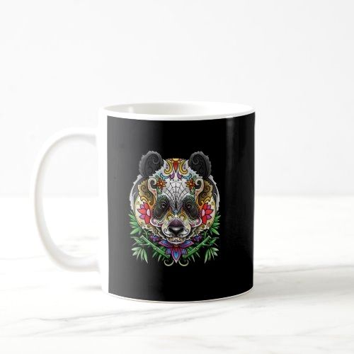 Panda Bear Tattoo Day Of The Dead Floral Mexican A Coffee Mug