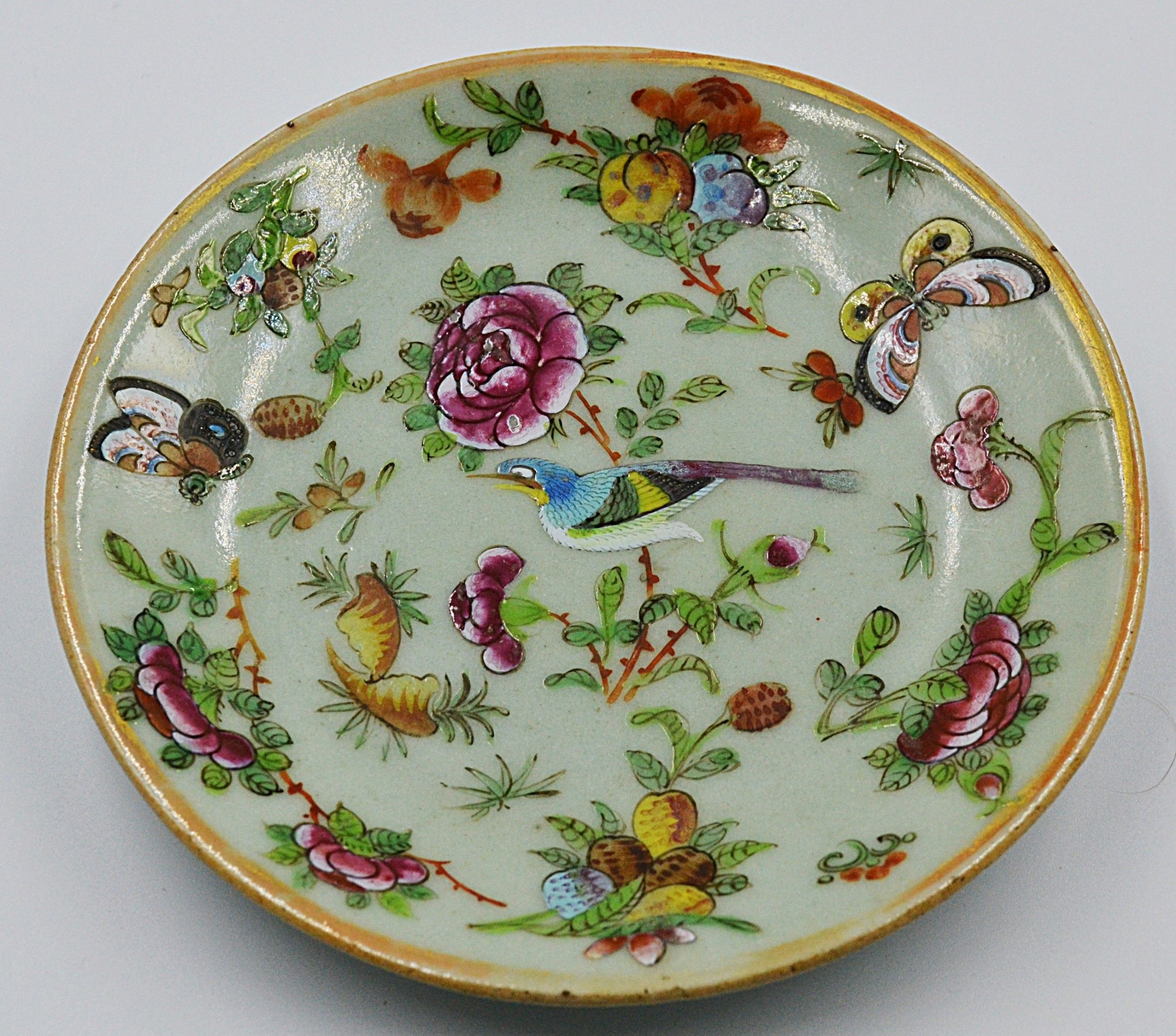 Chinese Cantonese Qing Period Famille Rose Plate Porcelain Butterflies Birds 554994 Sellingantiques Co Uk Antiques For Sale Antiques Rose Plated