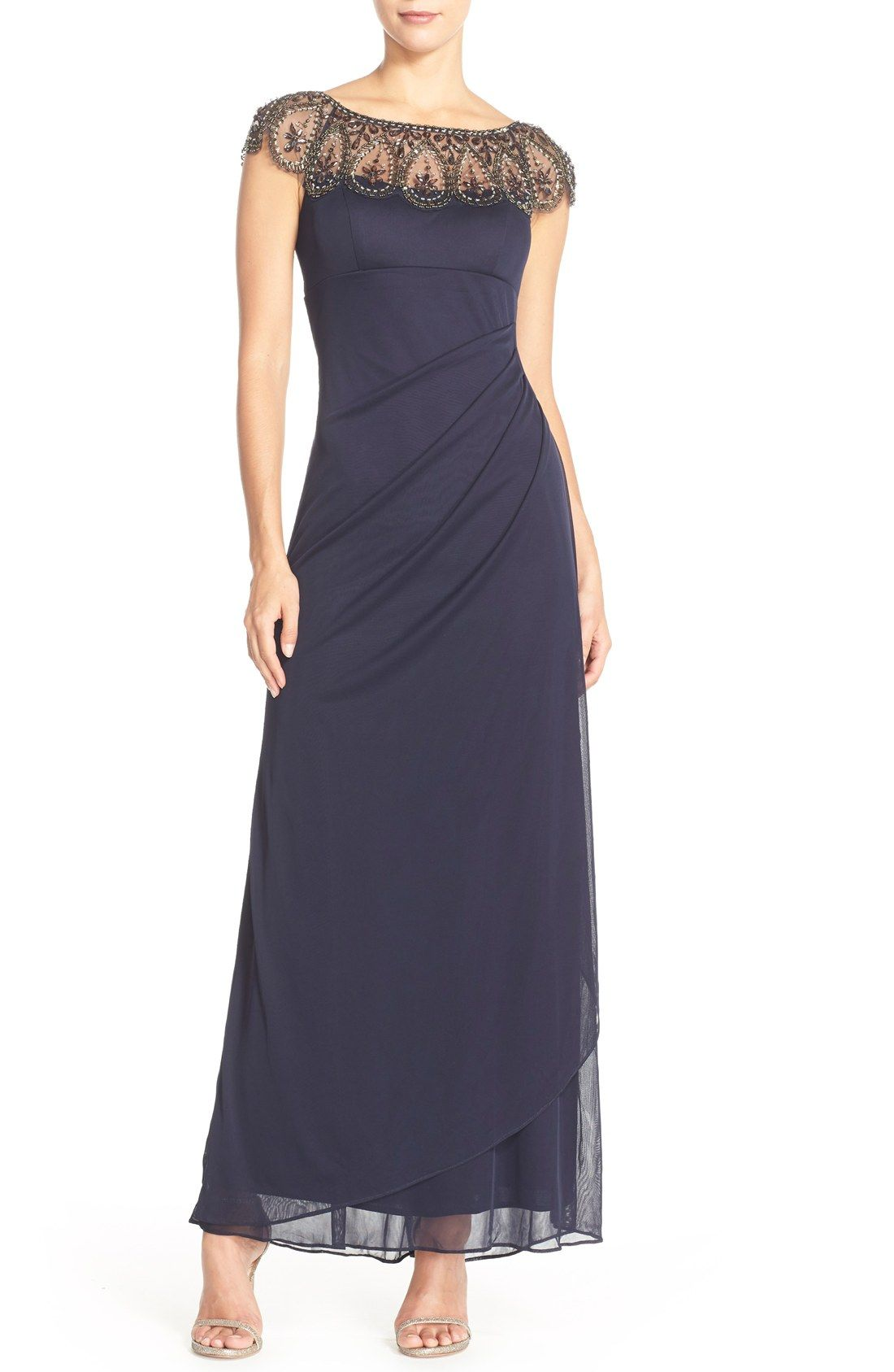 Nordstrom $208 -- Xscape Embellished Illusion Ruched Jersey Gown ...