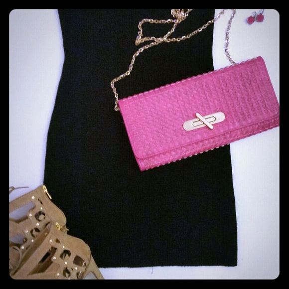 Clutch Bright pink clutch. Like new. Bags Clutches & Wristlets