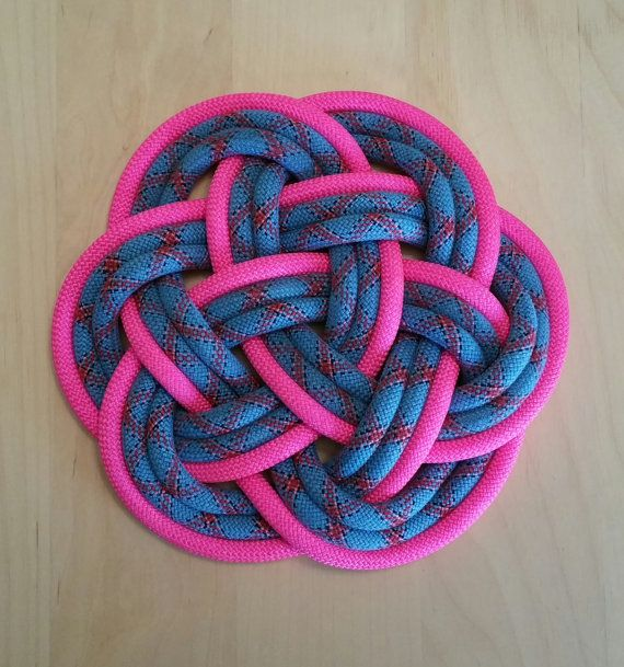 Climbing Rope Mat In Blue U0026 Hot Neon Pink / Nautical Knot / Celtic Knot /