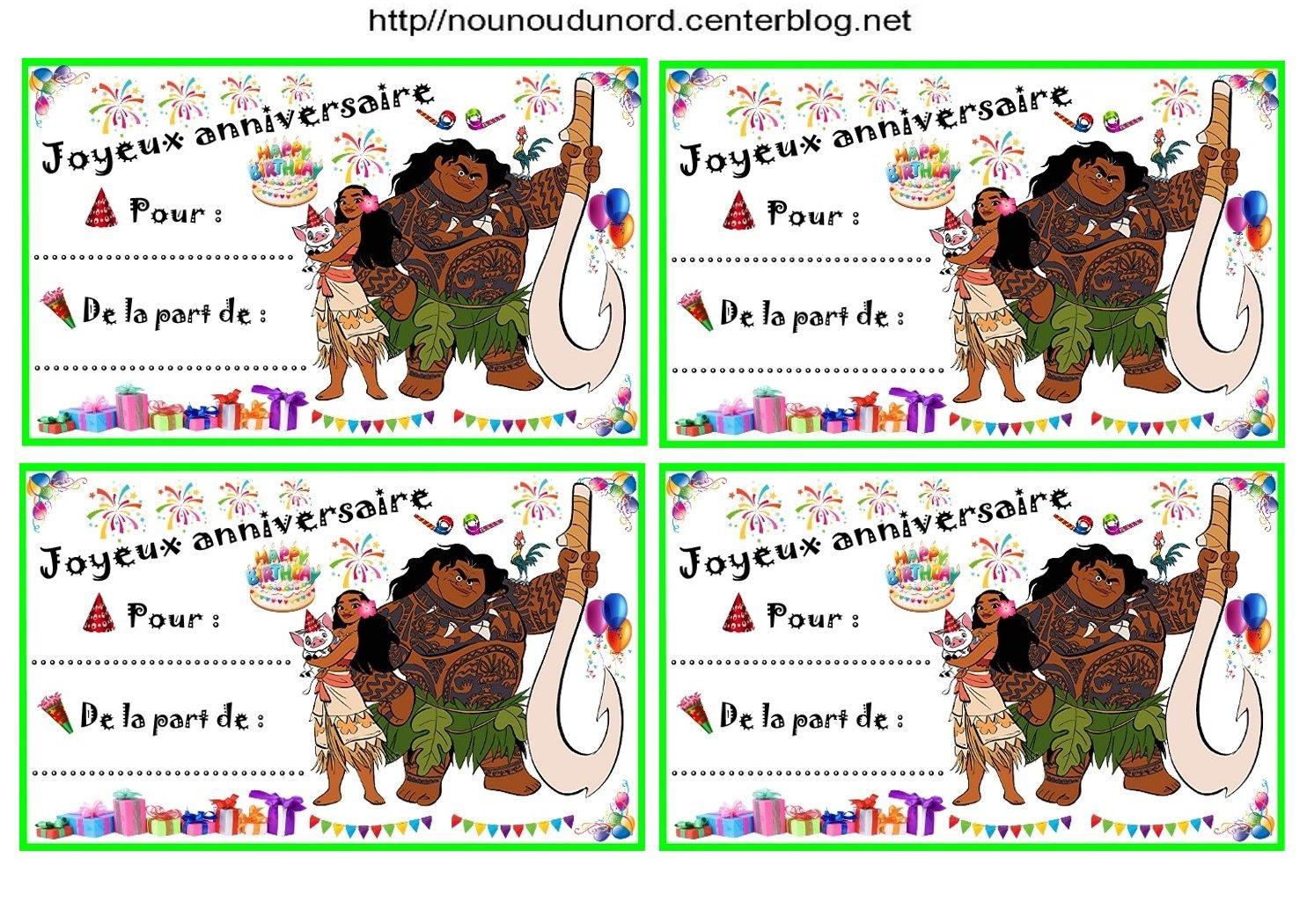 Fabuleux Anniversaire : Etiquettes cadeaux et invitations VAIANA pour les  ZS69