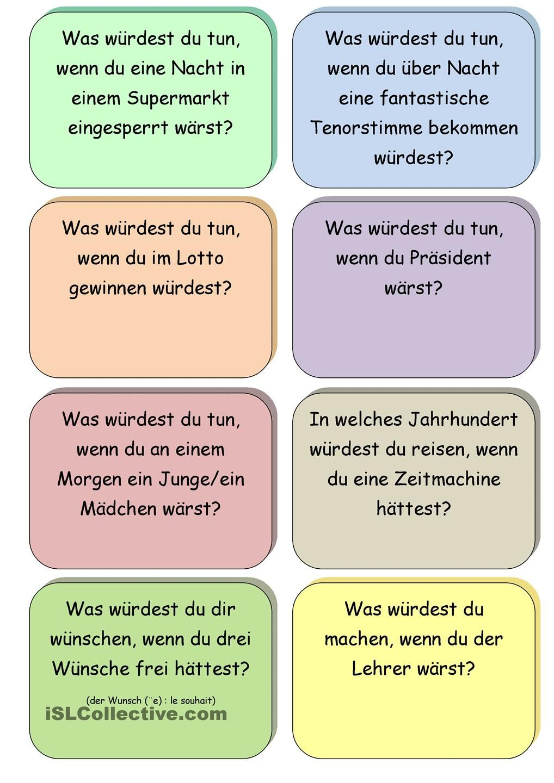 Spiel Was wäre wenn | μαθαίνω γερμανικά | Pinterest | German, School ...