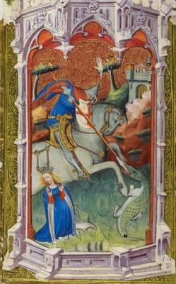 St. George ~ BL Royal 2 A XVIII The Beaufort/Beauchamp Hours ~ 005v ~ 1405-1422 ~ London, England ~ British Library ~ Miniature object