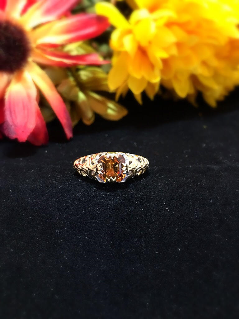 Santa Ana Madeira Citrine 14K YG and Platinum Over Sterling Silver Ring (Size 10.0) TGW 2.200 cts.