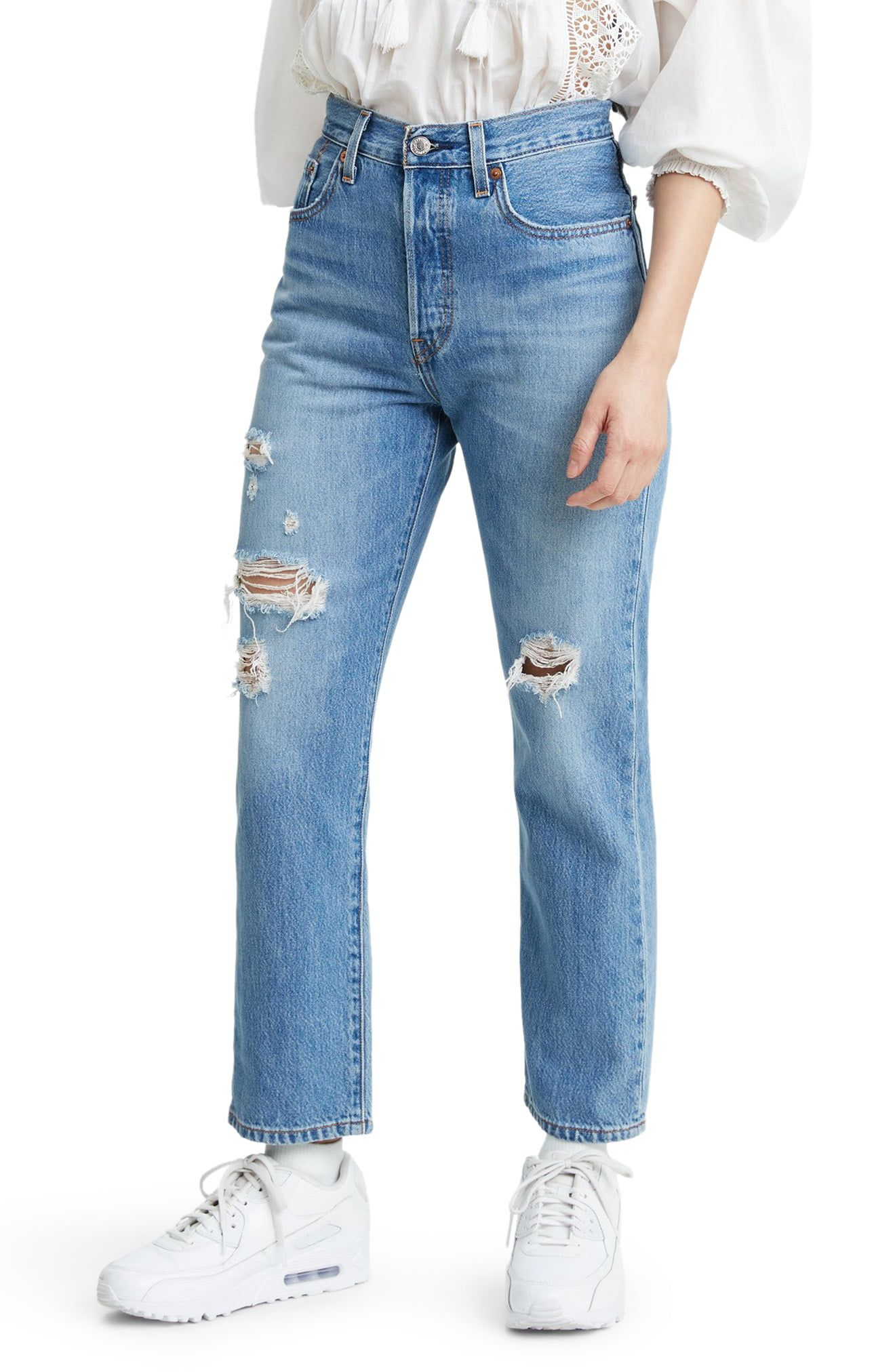 High-waisted jeans get artfully destructed in the latest version of the brand's beloved 501s cut from nonstretch denim for an authentic vintage feel. Style Name:Levi's 501 Ripped High Waist Crop Straight Leg Jeans (Sansome Light). Style Number: 6055578. Available in stores.