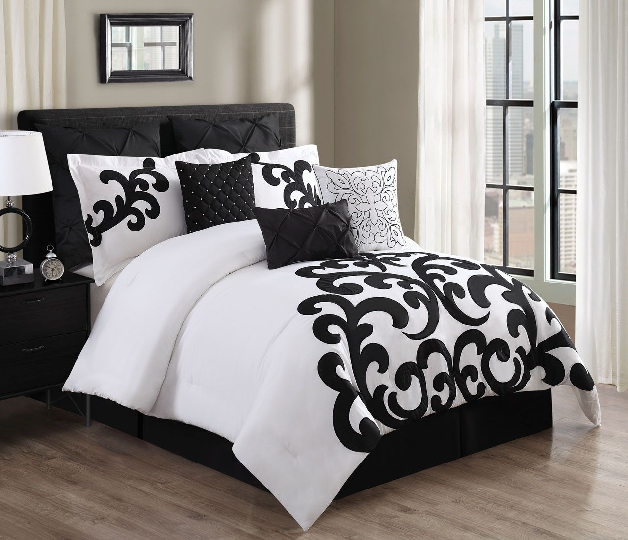 9 Piece Empress 100 Cotton BlackWhite Comforter Set Household
