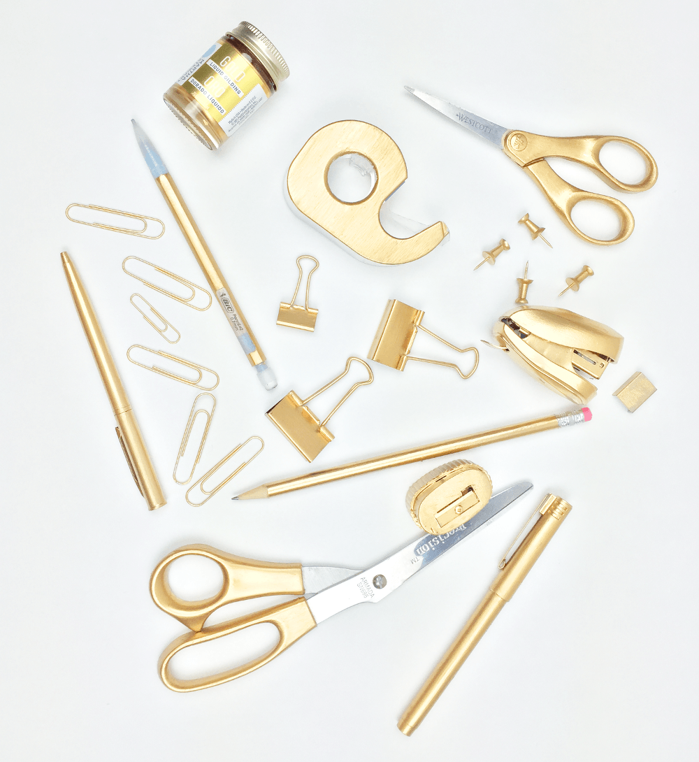DIY gold office supplies without spray painting