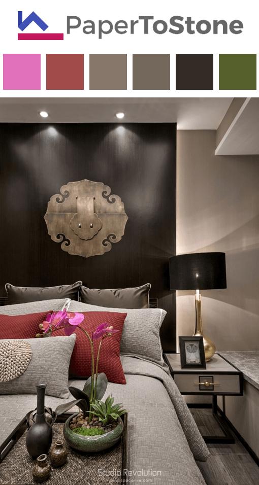 charming bedroom design ideas with light gren asian | Bedroom color palette - apple-green dark-amber dark-cobalt ...