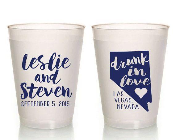 Drunk in Love Wedding Cups Wedding Plastic Cups State Wedding Cups Monogrammed State Wedding Cups Frosted Wedding Cups State Cups1026 by SipHipHooray