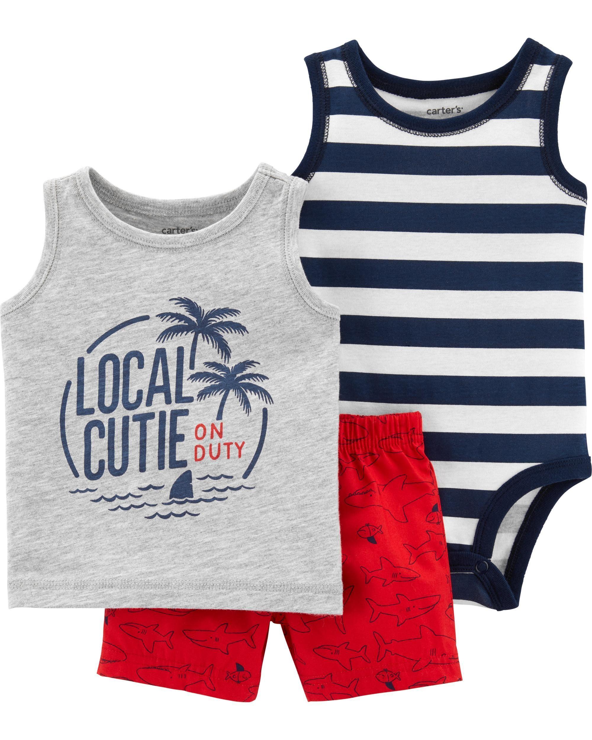 c5842c5bd18e Baby Boy 3-Piece Palm Trees Little Short Set