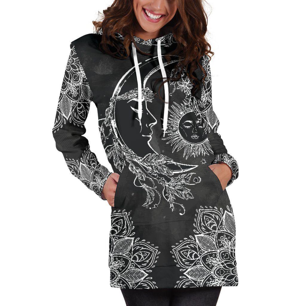Sun and Moon Women/'s Hoodie Dress