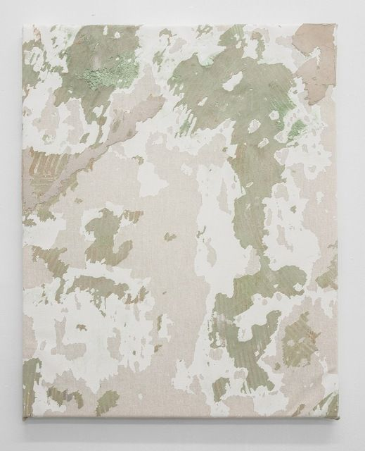 Available for sale from Antoine Levi , Olve Sande, Untitled floor piece (rue Ramponeau) II (2013), Mixed media on canvas, 50 × 40 cm