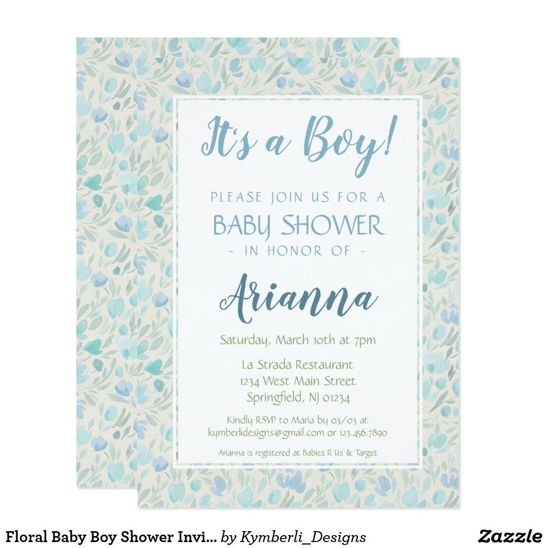 Floral Baby Boy Shower Invitation Zazzle Com Baby Shower Invitations For Boys Floral Baby Baby Boy Shower