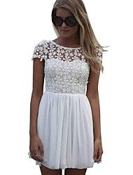 Women's Fashion Femininas Casual White Short Sleeve Lace Dress