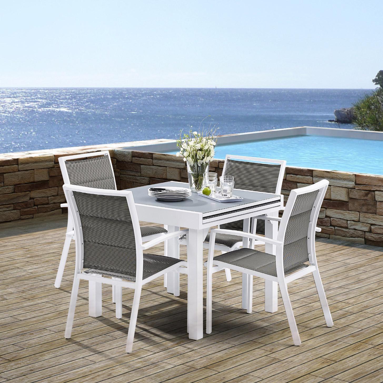 Salon de jardin Wilsa modulo t4/8 aluminium blanc, 4 ...