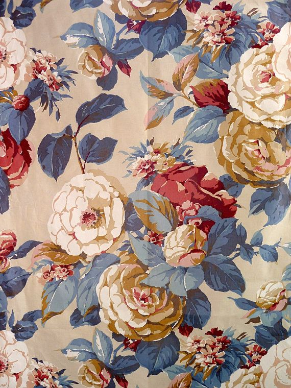 Reserved For Emmie 3m Vintage Floral Fabric Etsy Print Design Art Vintage Floral Fabric Floral Wallpaper