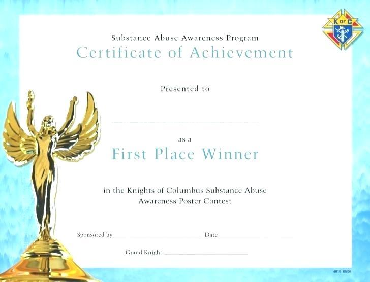 First Place Award Certificate Template 2 Templates Example Templat Certificate Templates Awards Certificates Template Certificate Of Achievement Template