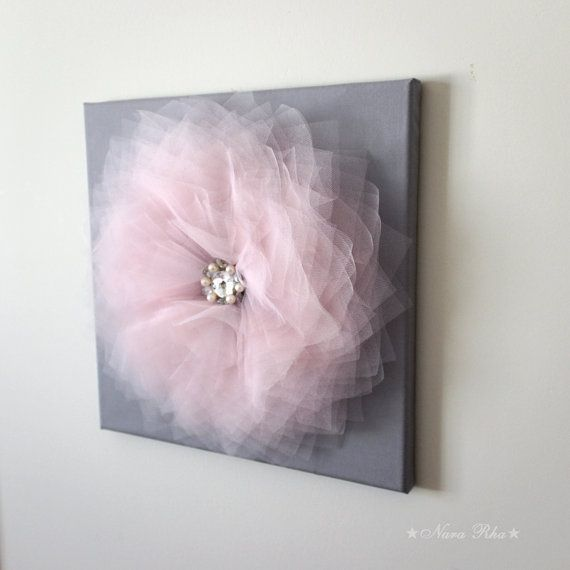 Diy Baby Nursery Floral Wall Decor: Pink And Gray Wall Flower, Girls Flower Decor, Baby
