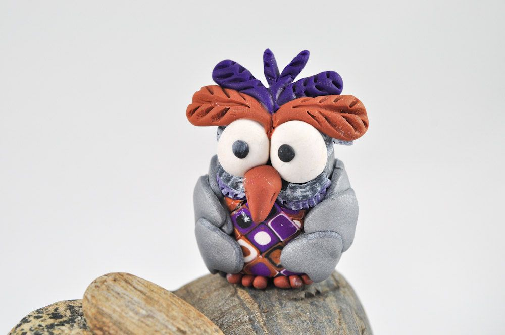 Owl Miniature Metallic Silver with Purple and Brown