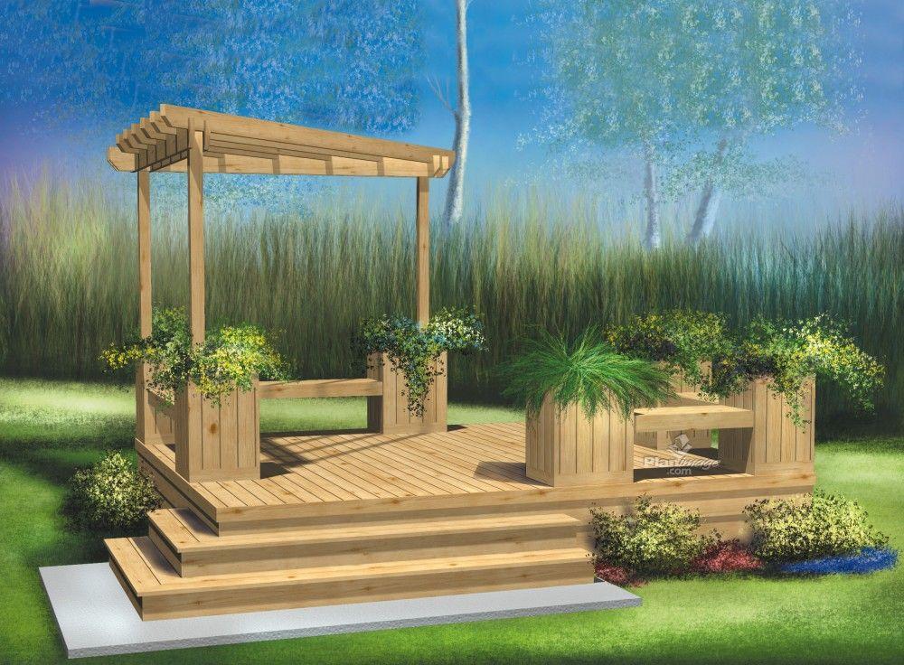 cette terrasse en bois palier unique est construite pr s du sol et comprend une petite pergola. Black Bedroom Furniture Sets. Home Design Ideas
