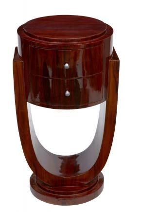 Pair Art Deco Nightstands Rosewood Bedside Chests Tables Bedroom