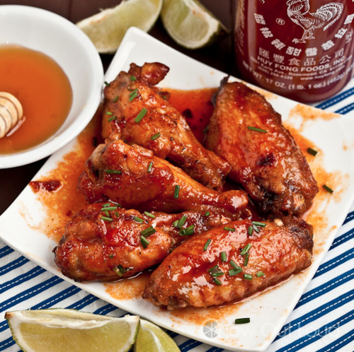 honey sriracha chicken wings. - Married With Food