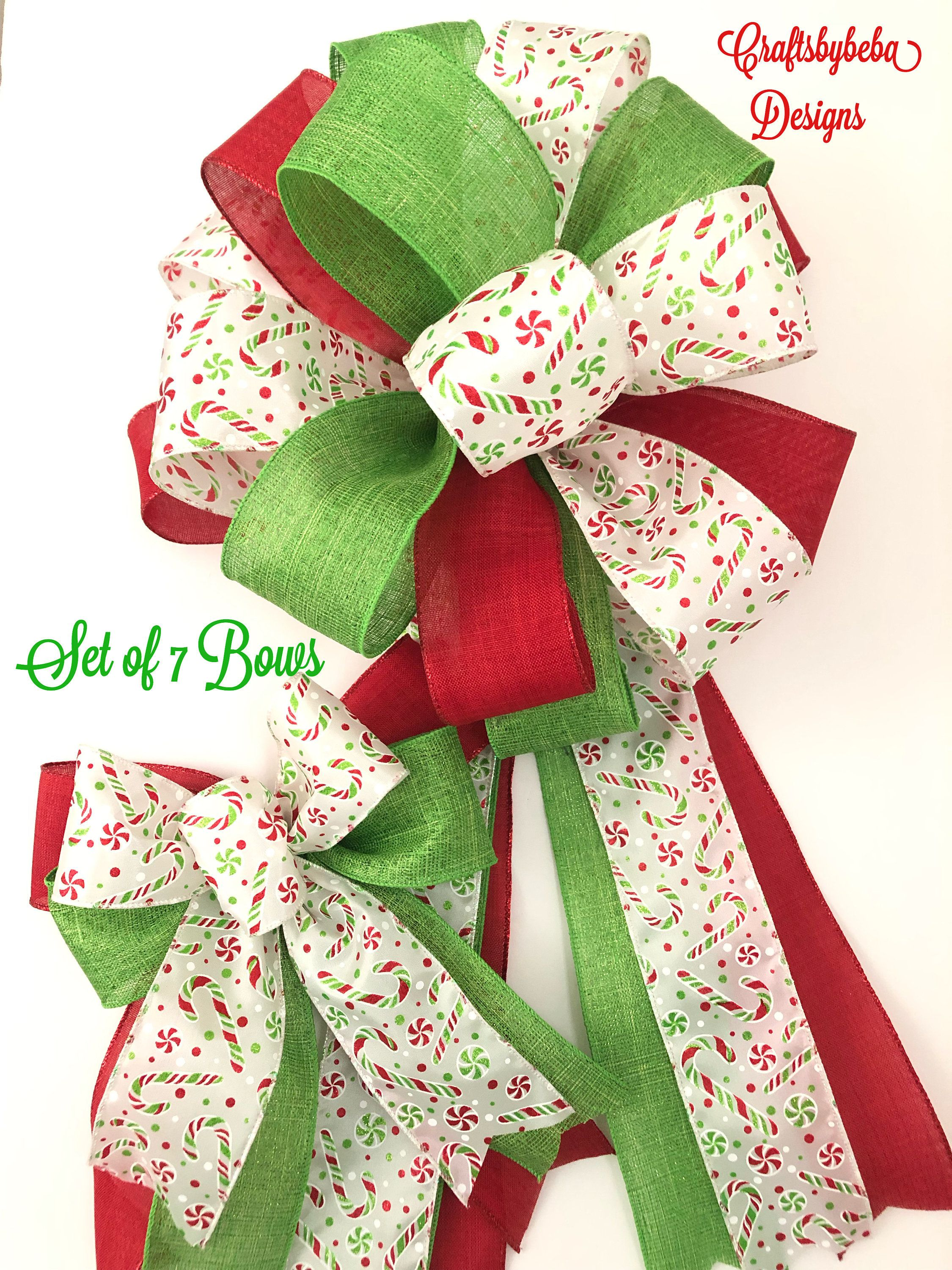 Christmas Peppermint and Candy Theme Decorative Bows / Set
