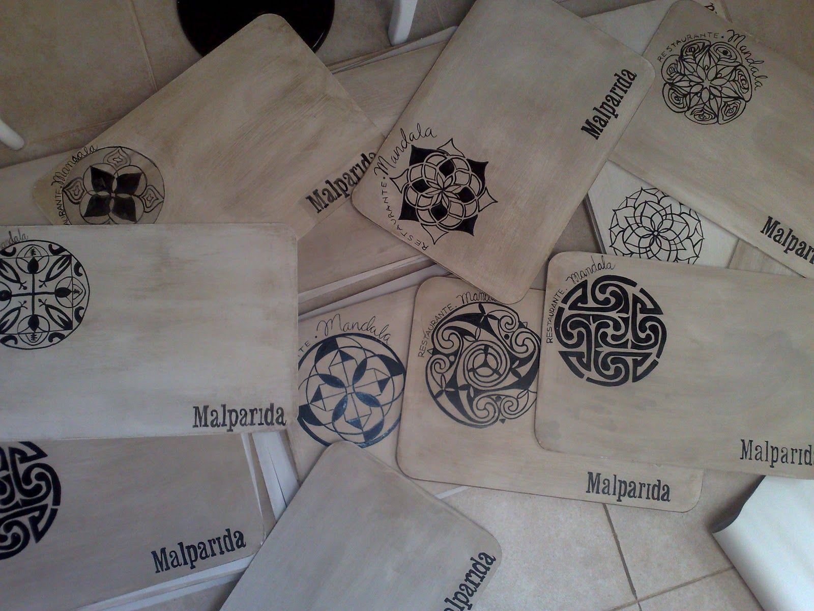 Individuales pintados a mano mandalas vintouch - Muebles de madera pintados a mano ...
