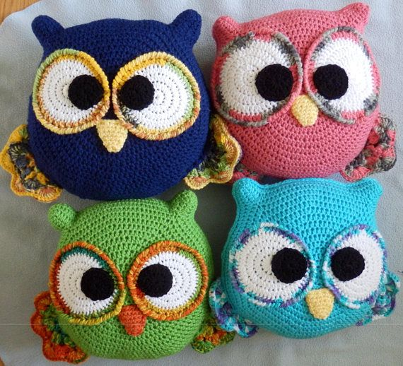 Made to order, Hand Crocheted OWL Pillow Doll You choose the colors, yellow, pink, blue, green, purple, multi etc.. One Pillow