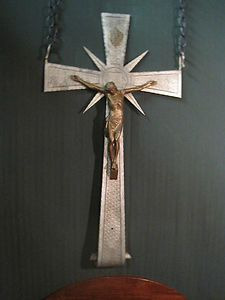 Antique 1800s Huge Crucifix Iron Brass Tau Religious Cross Brothers Monastery