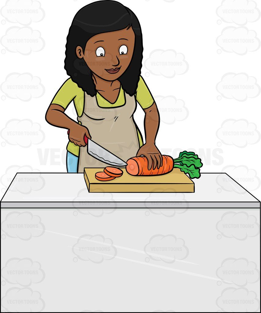 A black woman chopping carrots #apron #blade #carrot # ...