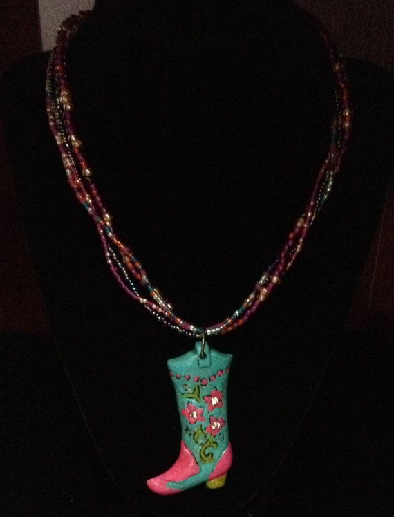 Cowgirl Boot Pendant on Beaded Necklace by Justfashionating, $29.95