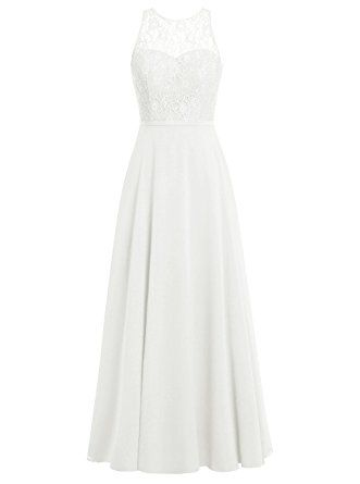 Dresstells® Long Bridesmaid Dress Scoop Chiffon Evening Gowns with Lace Ivory Size 10