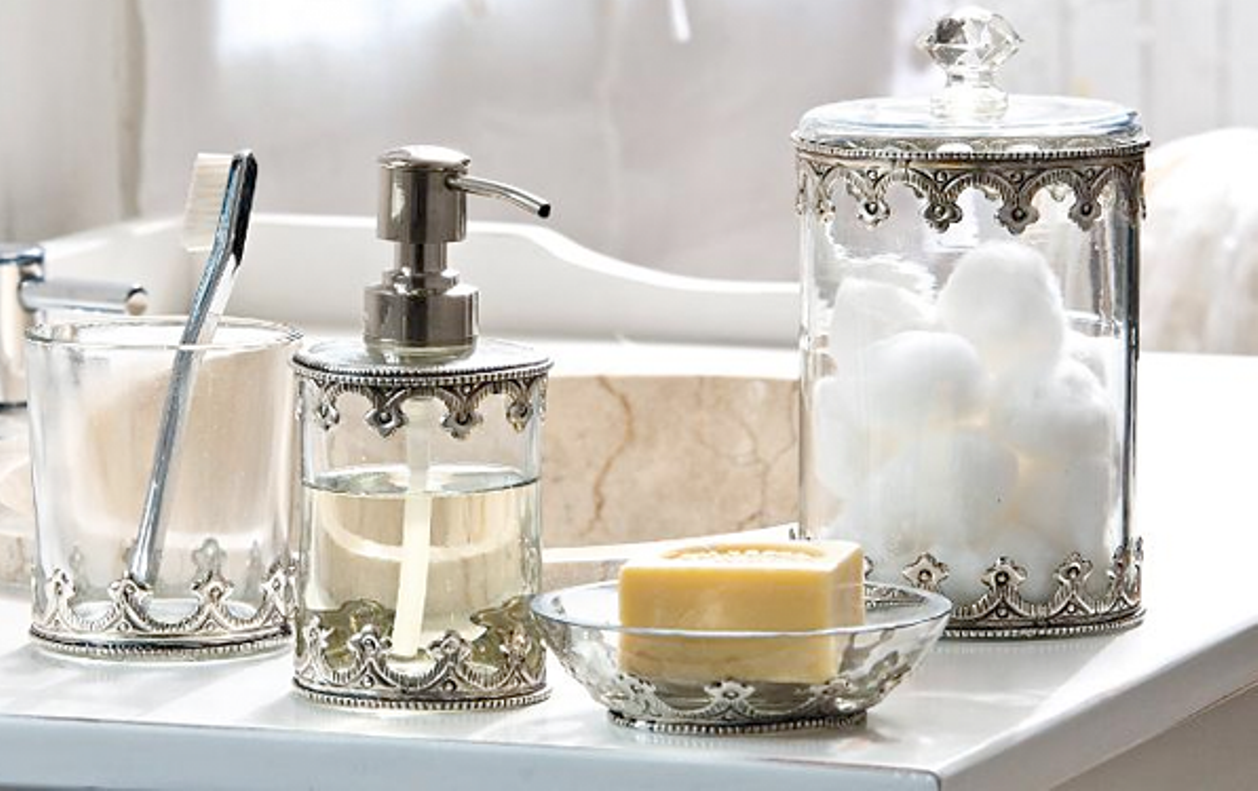 Chic Glass Bathroom Accessories Sets For Shabby Chic Bathroom