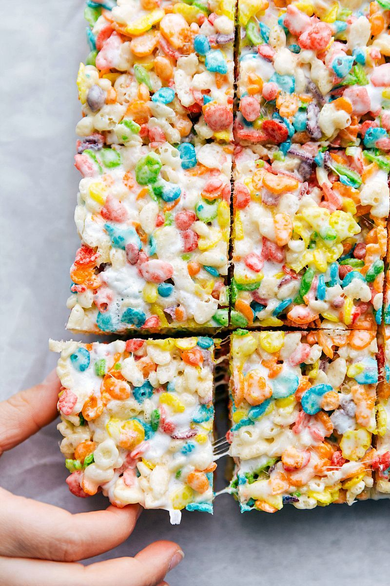 Colorful sweet and easy to make fruity pebble rice krispie treats will be a hit wherever you serve them These treats take minutes to assemble are easy to transport and re...