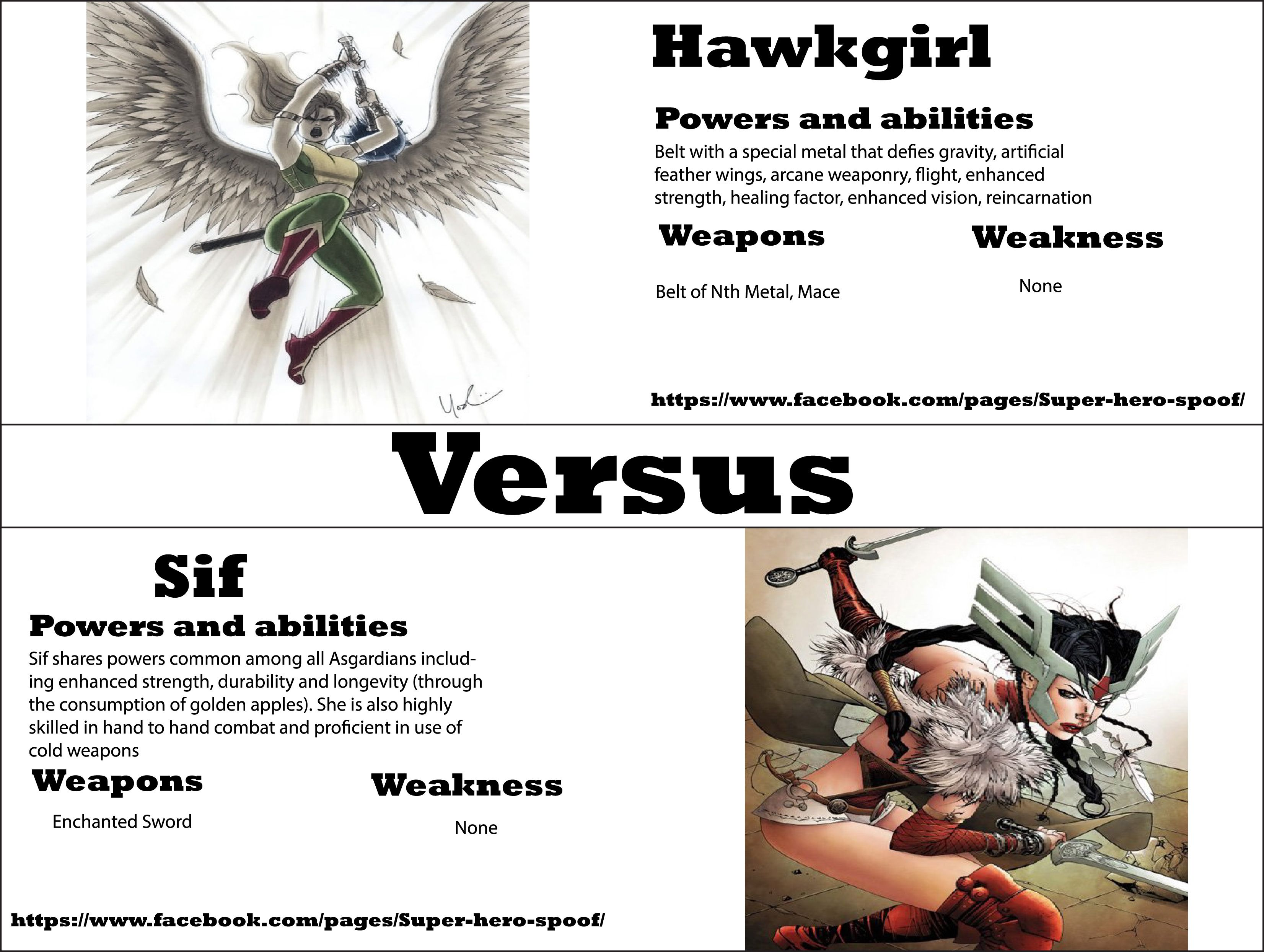 lady sif vs hawk girl who will win and why powers abilities lady sif vs hawk girl who will win and why powers abilities weaknesses and weapons are posted by super hero spoof