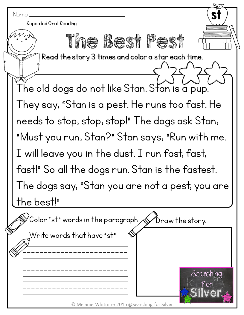 small resolution of Reading Fluency Passages (Blends) PDF and Digital Ready!   Reading fluency  passages
