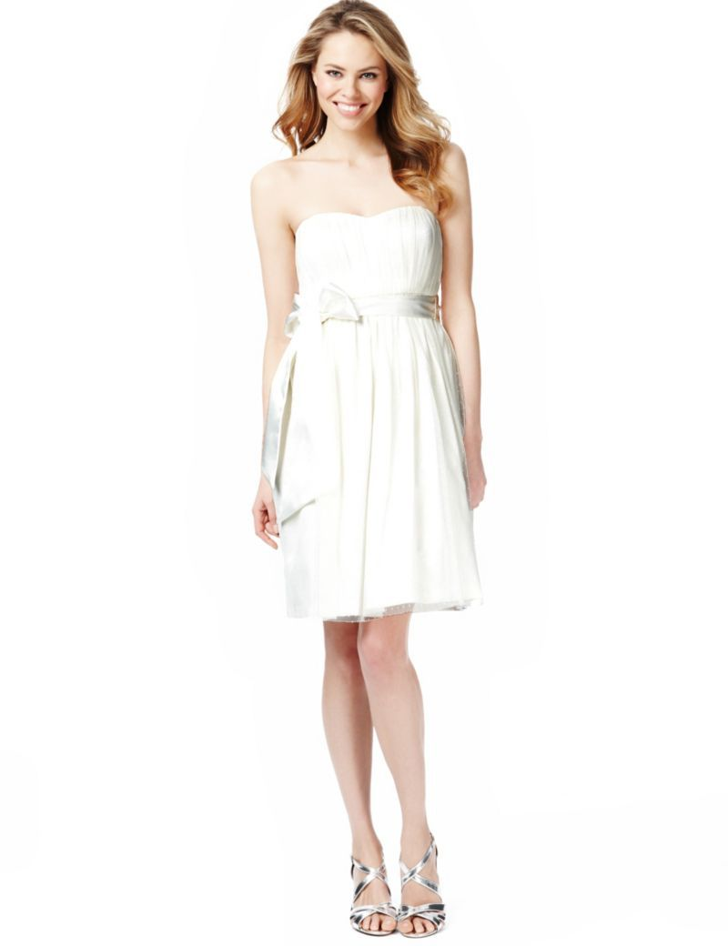 Strapless Spotted Mesh Prom Belted Dress | Marks and Spencer | My ...