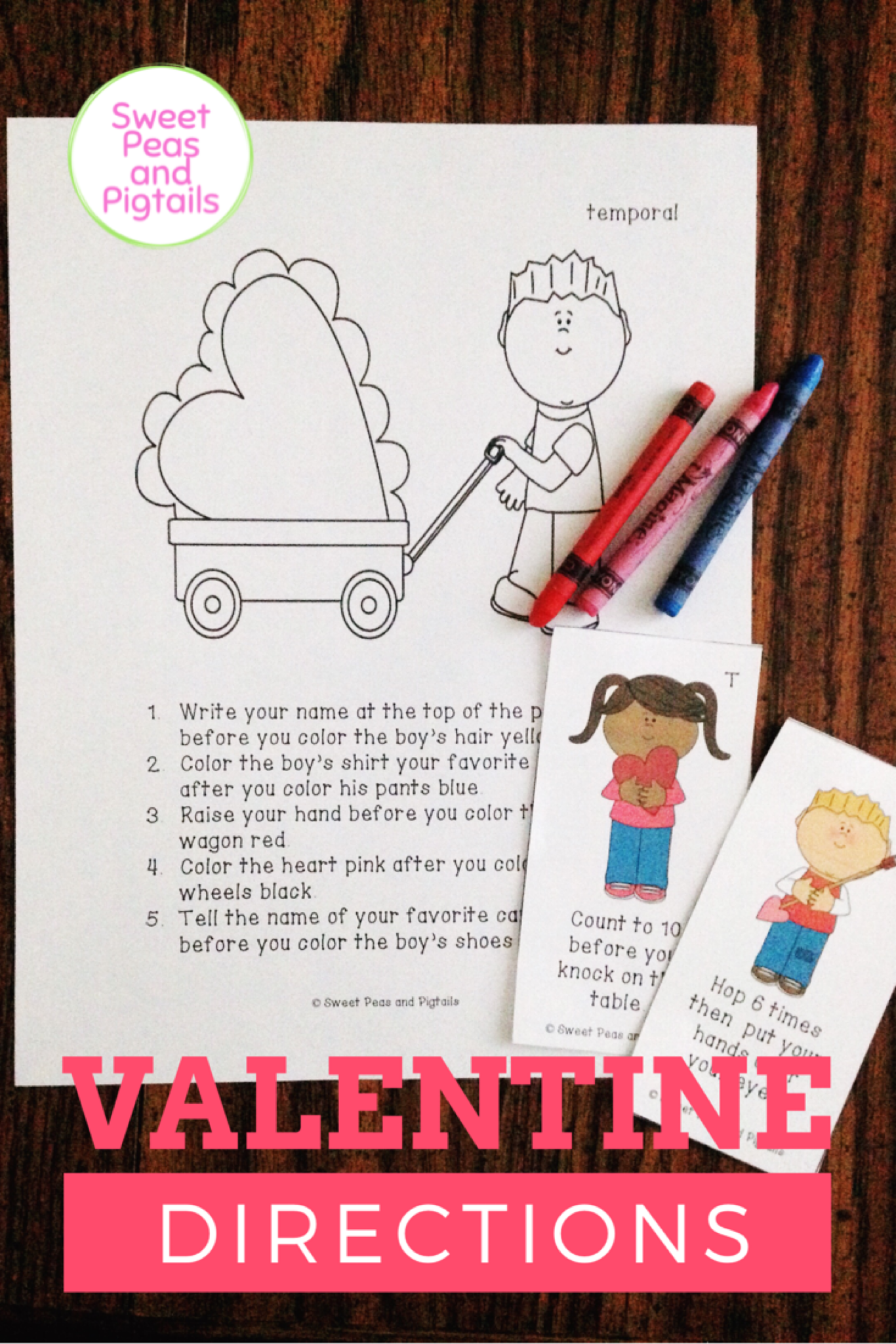 Valentine S Day Following Directions Cards Amp Coloring