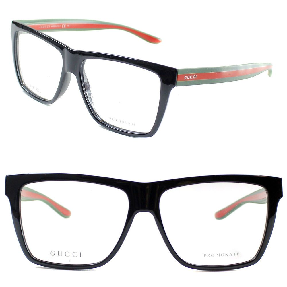 7b1dc44bd4a1 Gucci Eyeglasses GG 1008 51N 55mm Shiny Black-Red Green / Demo Lens #Gucci