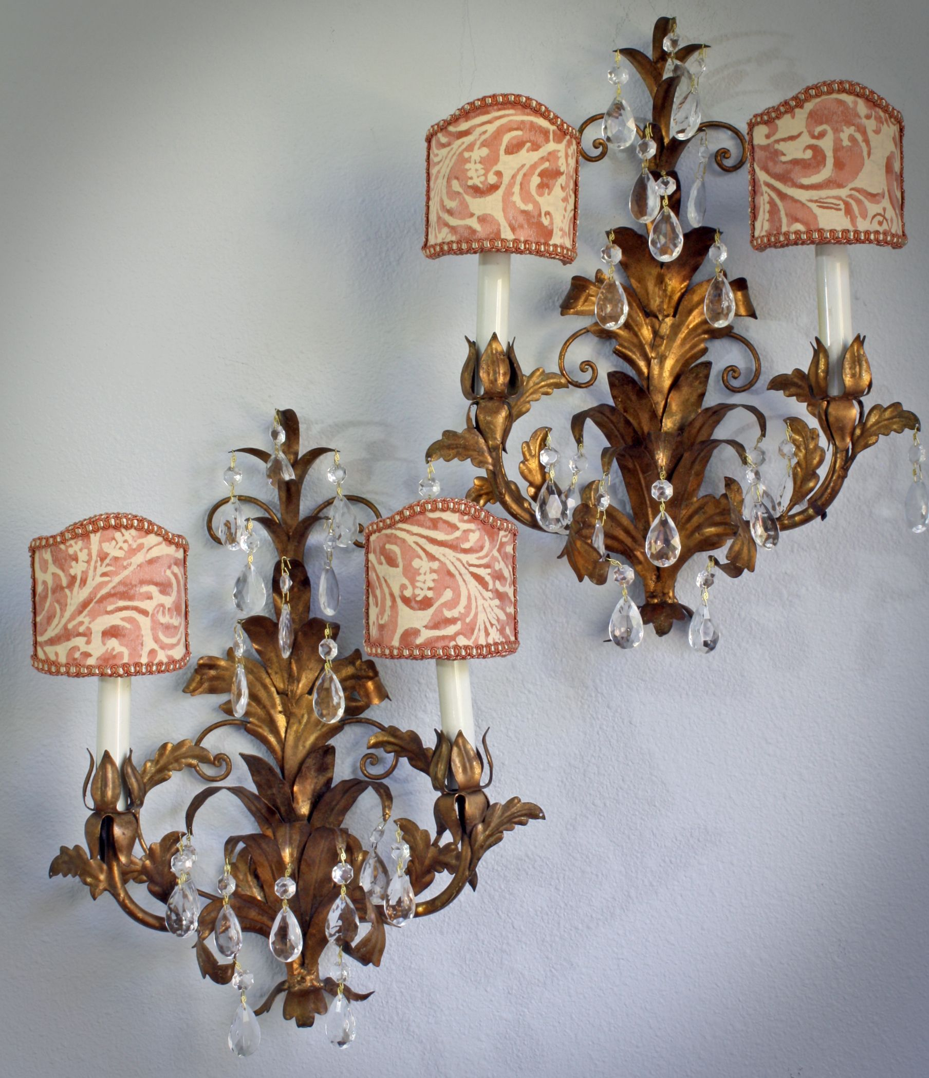 Pair Of Italian Sconces With Fortuny Fabric Shades